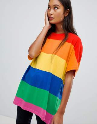 Bershka bold stripe rainbow tee in multi