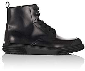 Prada Men's Wedge-Sole Leather Boots-Black
