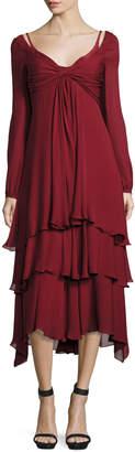 Cinq à Sept Fira Tiered Silk Dress, Pomegranate