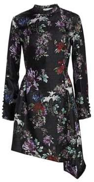Each X Other Asymmetrical Floral-Print Silk A-Line Dress