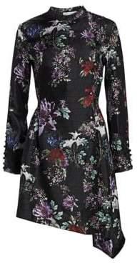 Each X Other Asymmetrical Floral-Print Silk A-Line Dress