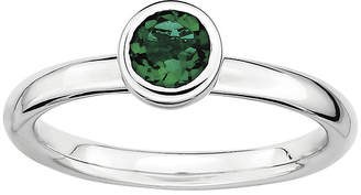 JCPenney FINE JEWELRY Personally Stackable 5mm Round Lab-Created Emerald Ring
