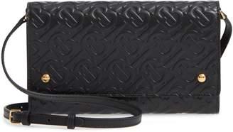 Burberry Monogram Embossed Leather Crossbody Wallet