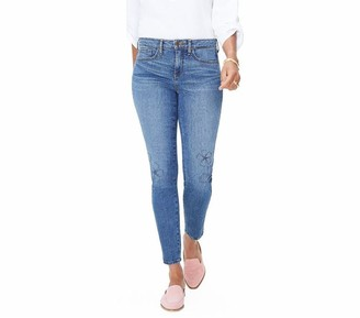 NYDJ Missy Ami Skinny Ankle Jeans with Floral Fauna Embroider