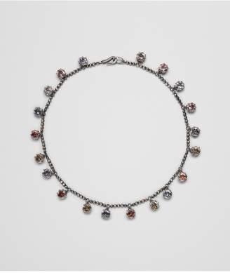 Bottega Veneta Multicolor Cubic Zirconia Oxidized Silver Necklace