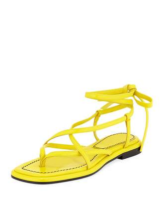 Proenza Schouler Flat Leather Lace-Up Sandals