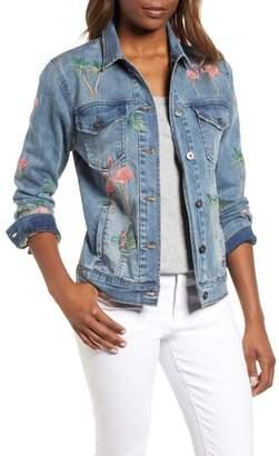 BILLY T Flamingo Embroidered Denim Jacket