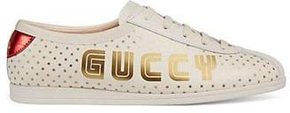Gucci Women's Guccy-Print Leather Sneakers - White