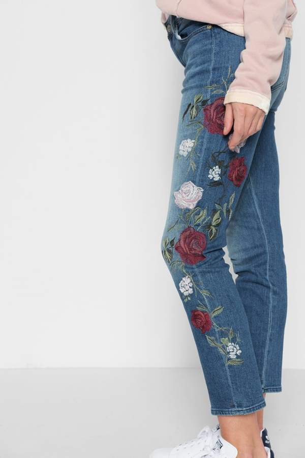 7 For All MankindFashion Boyfriend With Rose Garden Embroidery