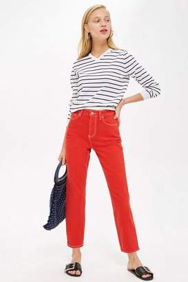 Topshop Red Straight Leg Jeans