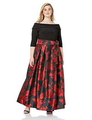 Jessica Howard Plus Size Womens Off Shoulder Gown with Tie Sash