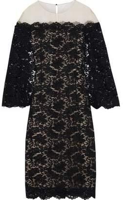 Oscar de la Renta Cape-effect Tulle-paneled Corded Lace Midi Dress