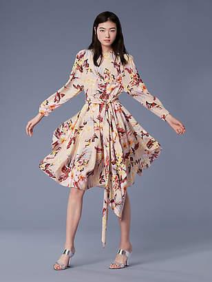 Diane von Furstenberg Long-Sleeve Waist Tie Draped Midi Dress