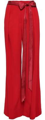 ADAM by Adam Lippes Moire-trimmed Crepe Wide-leg Pants