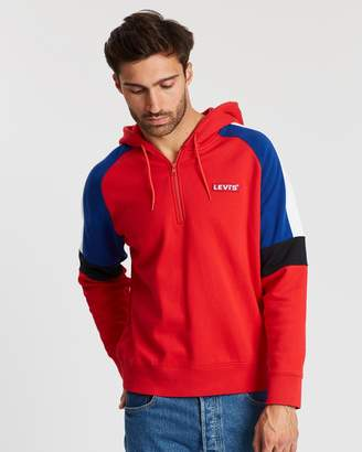 Levi's Relaxed Peiced 1/4 Zip Blocked Stripe Sleeve Sweater