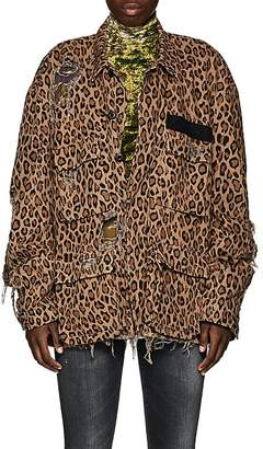 R 13 Women's Abu Distressed Leopard-Print Cotton Jacket