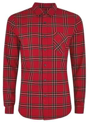 Topman Mens Red Tartan Check Stretch Skinny Shirt