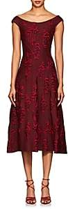 Zac Posen Women's Floral Jacquard Flared Dress - Burgundy