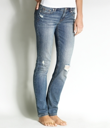 Embroidered Medium Wash Skinny Jean