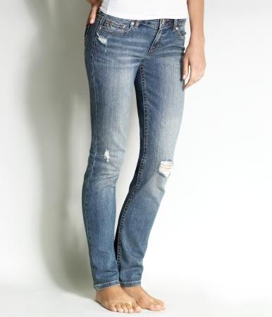 Embroidered Medium Wash Skinny Jean