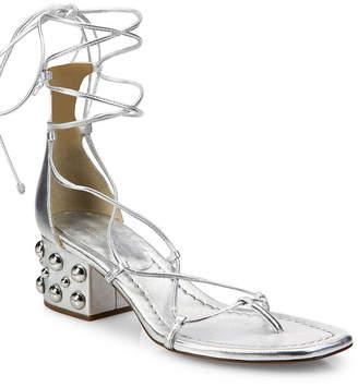 Michael Kors Ayers Metallic Leather Lace-Up Block Heel Sandal