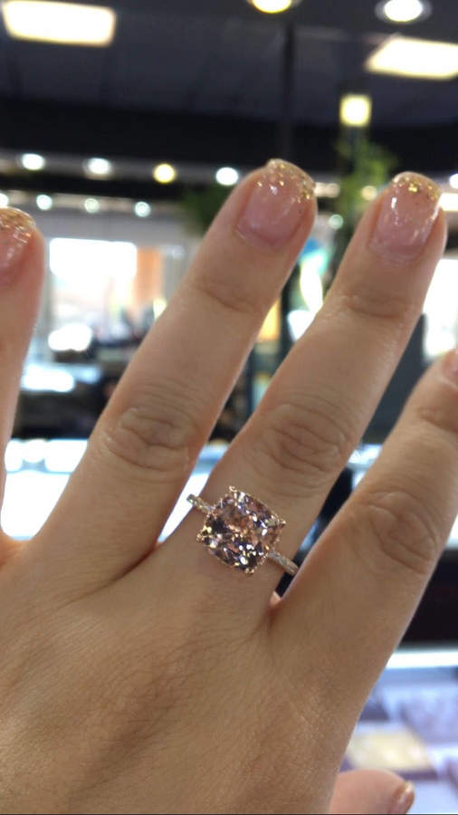 Etsy 14 Karat Rose Gold Diamond Cushion Cut Shape Morganite ... f0b475dd7fc