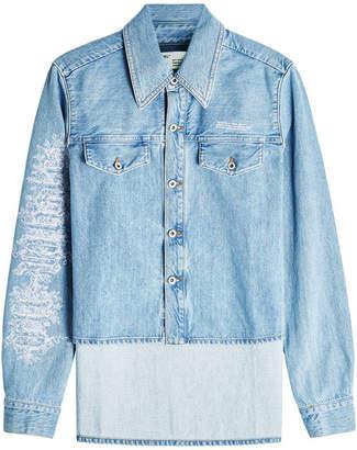 Off-White Cropped Front Denim Jacket