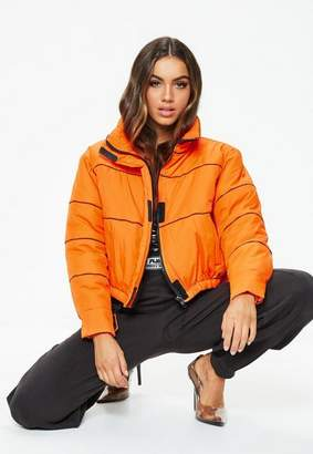 Missguided Fanny Lyckman X Orange Tomboy Logo Puffer Jacket