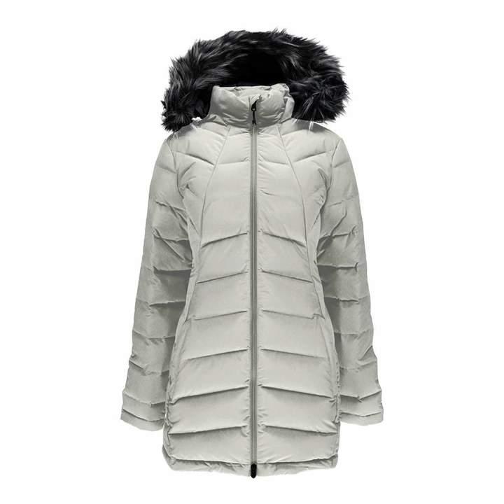 Women's White Syrround Long Faux Fur Down Coat