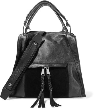 Sandro Adria paneled textured-leather and suede shoulder bag $755 thestylecure.com