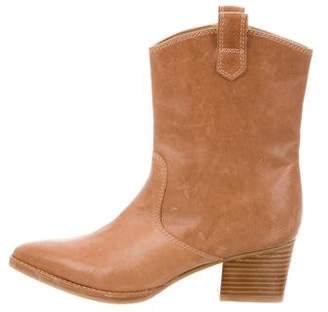 Stuart Weitzman Leather Pointed-Toe Ankle Boots