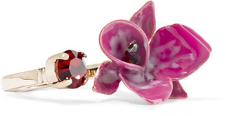 Etro - Gold-plated Crystal And Enamel Ring - Burgundy $220 thestylecure.com