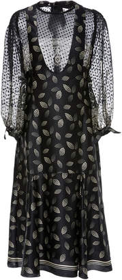 Anna Sui Dotted Leaves Charmeuse Dress