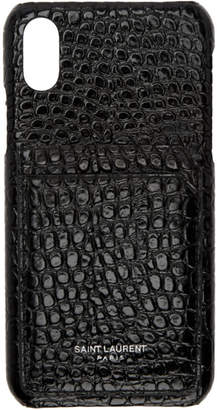 Saint Laurent Black Croc iPhone X Case