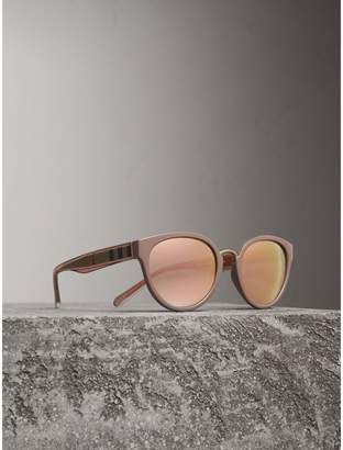 Burberry Check Detail Mirrored Cat-eye Frame Sunglasses