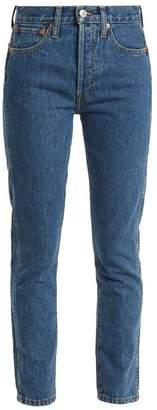 Re/done Originals - High Rise Slim Leg Cropped Jeans - Womens - Blue