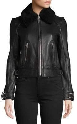 Maje Lamb Fur-Trimmed Leather Jacket