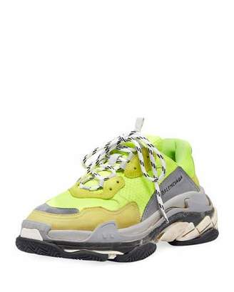 Balenciaga Triple S Mesh & Leather Sneaker, Yellow