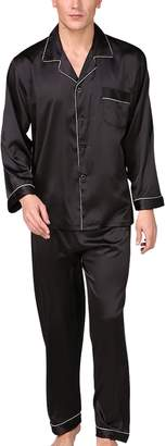 79df1d4619 Aieoe Mens Satin Pajamas Soft Polyester Summer Long Sleepwear Set with a Pocket  Button-Down