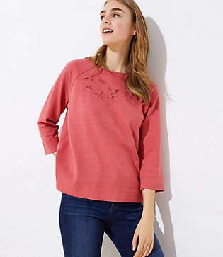 LOFT Petite Embroidered Floral Eyelet Sweatshirt