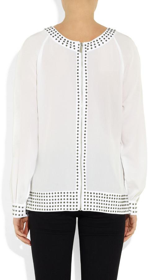 Karl Lagerfeld Belinda studded crepe blouse