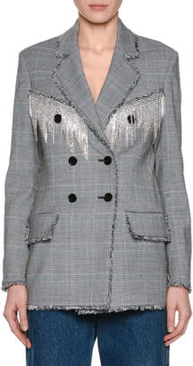MSGM Plaid Wool Blazer w/ Crystal Fringe