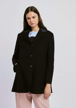Emporio Armani Single-Breasted Wool And Cashmere Peacoat With Detail On Lapels