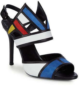 Aperlaï Colorblocked Leather Ankle-Strap Sandal