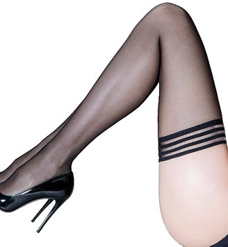 Pour Moi? Pour Moi Strapped Mesh Top Thigh Highs