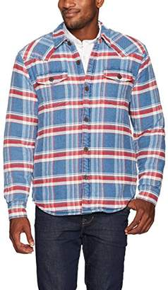 True Grit Men's Vintage Summit Plaid Faux Sherpa Shirt Jacket with Pockets
