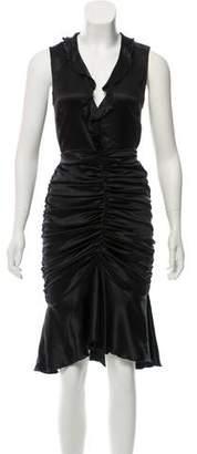 Blumarine Ruched Sleeveless Midi Dress