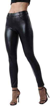 e7a101bbe3f67 at Amazon Canada · FITTOO Women's Super Shiny Sexy Faux Leather Leggings  Stretchy Pu High Waisted Pants L