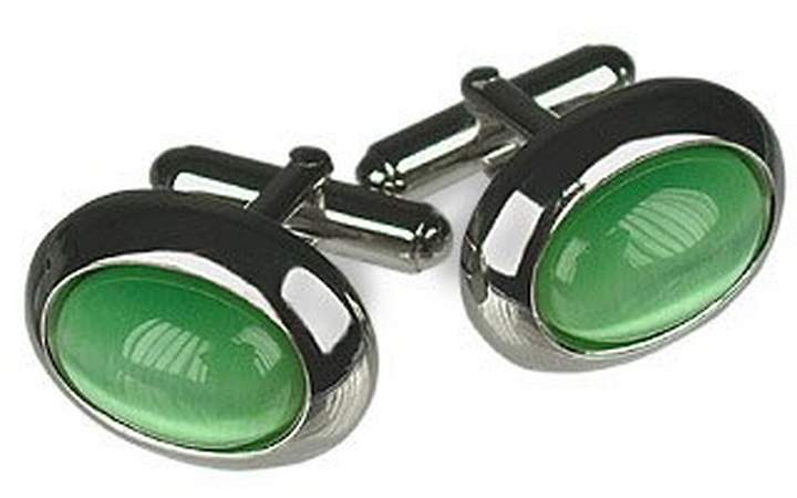 Forzieri Cat's eye - Silver-Plated Oval Cuff Links