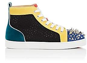 Christian Louboutin Men's Lou Pik Pik Flat Mixed-Material Sneakers-Yellow